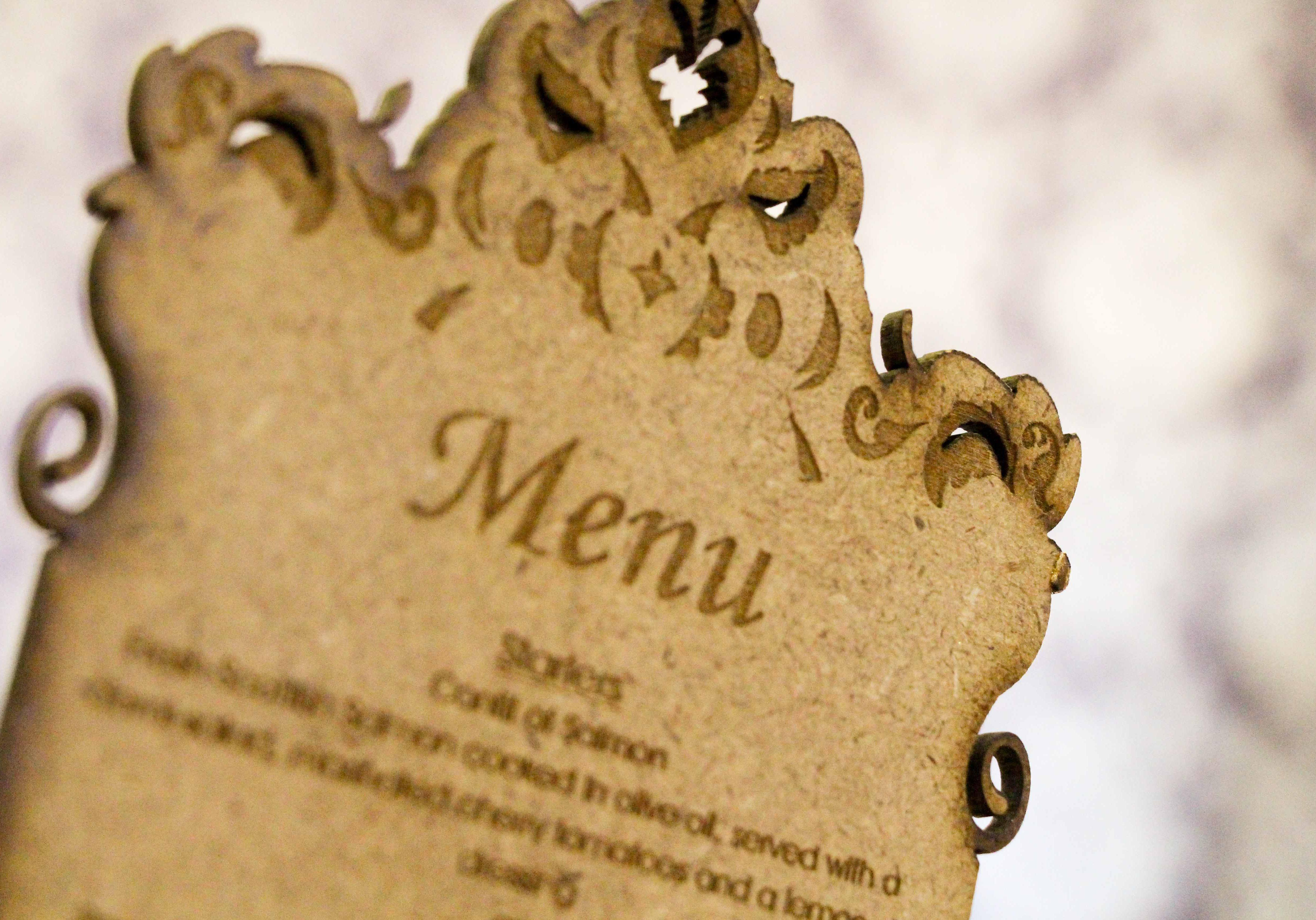 Laser engraved menus