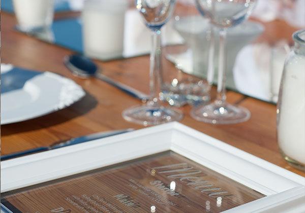 Engraved menu Glass